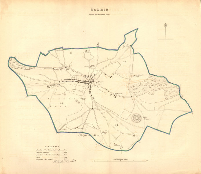 Associate Product BODMIN borough/town plan. BOUNDARY COMMISSION. Cornwall. DAWSON 1837 old map