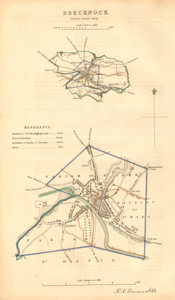Associate Product BRECKNOCK/BRECON borough/town plan. BOUNDARY COMMISSION. Wales. DAWSON 1837 map