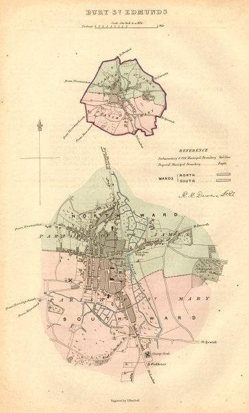 Associate Product BURY ST EDMUNDS borough/town plan. BOUNDARY COMMISSION. Suffolk. DAWSON 1837 map