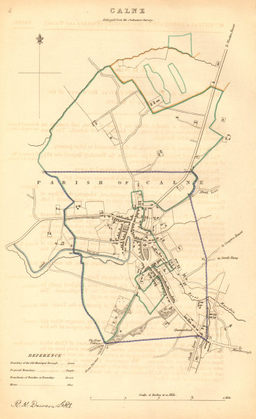Associate Product CALNE borough/town plan. BOUNDARY COMMISSION. Wiltshire. DAWSON 1837 old map