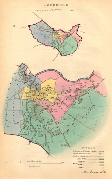 Associate Product CAMBRIDGE borough/town/city plan. BOUNDARY COMMISSION. DAWSON 1837 old map