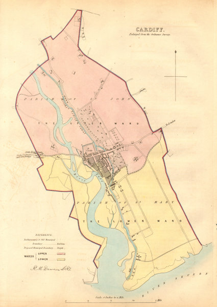 Associate Product CARDIFF borough/town/city plan. BOUNDARY COMMISSION. Wales. DAWSON 1837 map