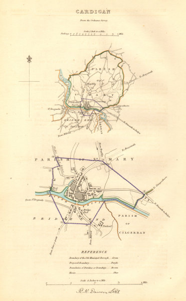 Associate Product CARDIGAN borough/town plan. BOUNDARY COMMISSION. Wales. DAWSON 1837 old map