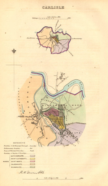 Associate Product CARLISLE borough/town/city plan. BOUNDARY COMMISSION. Cumbria. DAWSON 1837 map