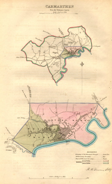 Associate Product CARMARTHEN borough/town plan. BOUNDARY COMMISSION. Wales. DAWSON 1837 old map