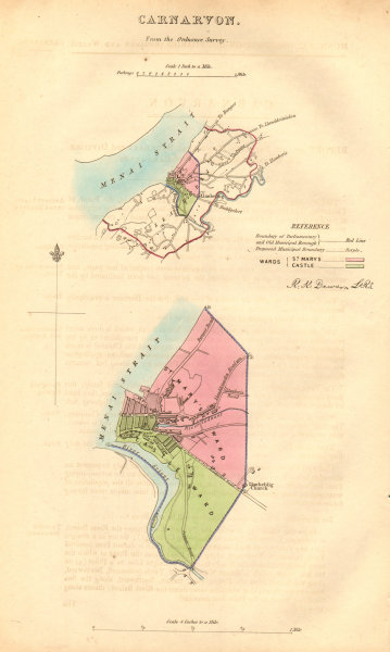 Associate Product CARNARVON/CAERNARFON borough/town plan. BOUNDARY COMMISSION. DAWSON 1837 map