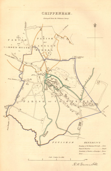 Associate Product CHIPPENHAM borough/town plan. BOUNDARY COMMISSION. Wiltshire. DAWSON 1837 map