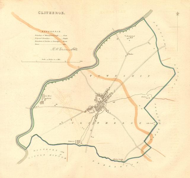 Associate Product CLITHEROE town/borough plan. BOUNDARY COMMISSION. Lancashire. DAWSON 1837 map