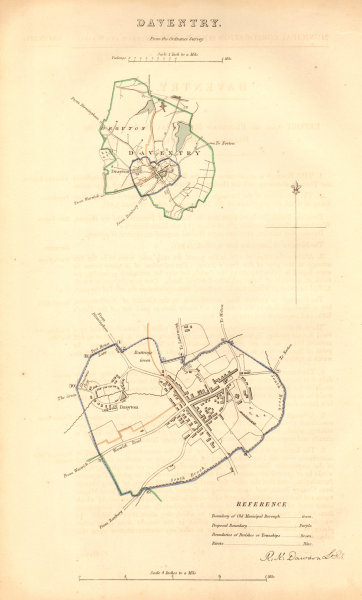 Associate Product DAVENTRY borough/town plan. BOUNDARY COMMISSION Northamptonshire DAWSON 1837 map