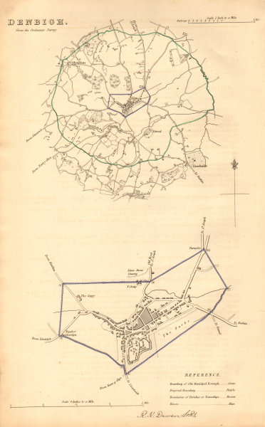 Associate Product DENBIGH borough/town plan. BOUNDARY COMMISSION. Wales. DAWSON 1837 old map