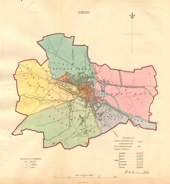 Associate Product DERBY borough/town/city plan. BOUNDARY COMMISSION. Derbyshire. DAWSON 1837 map