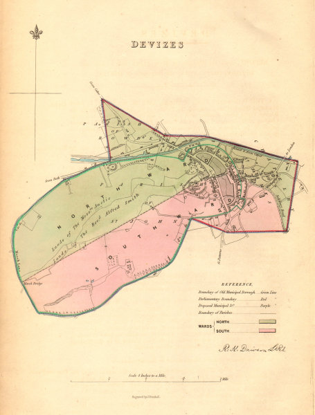 Associate Product DEVIZES borough/town plan. BOUNDARY COMMISSION. Wiltshire. DAWSON 1837 old map