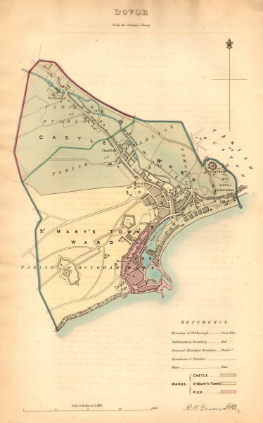 Associate Product DOVER borough/town/city plan. BOUNDARY COMMISSION. Kent. DAWSON 1837 old map