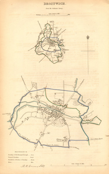 Associate Product DROITWICH borough/town plan. BOUNDARY COMMISSION Worcestershire. DAWSON 1837 map