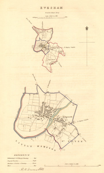 Associate Product EVESHAM borough/town plan. BOUNDARY COMMISSION. Worcestershire. DAWSON 1837 map