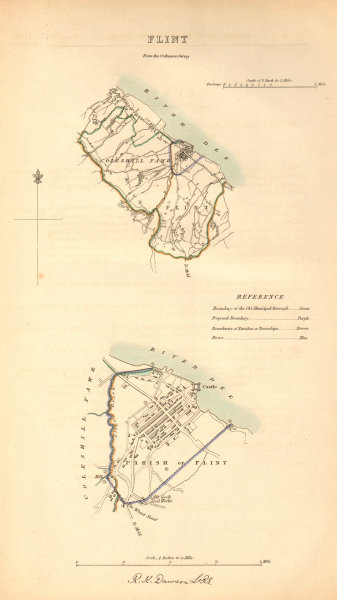 Associate Product FLINT borough/town plan. BOUNDARY COMMISSION. Wales. DAWSON 1837 old map