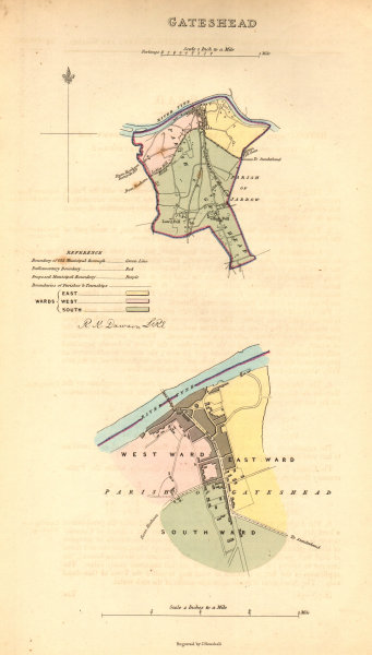 Associate Product GATESHEAD borough/town/city plan. BOUNDARY COMMISSION. Durham. DAWSON 1837 map
