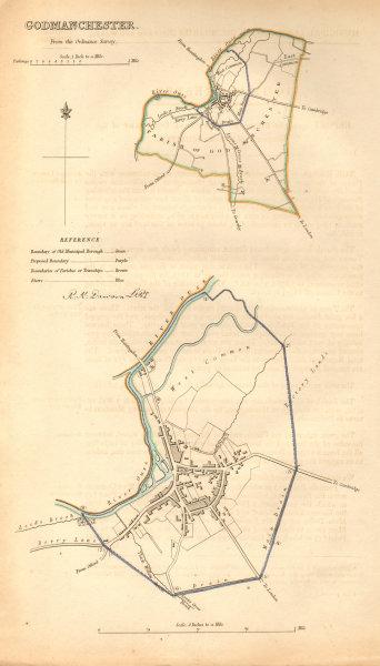 Associate Product GODMANCHESTER borough/town plan. BOUNDARY COMMISSION. Hunts. DAWSON 1837 map