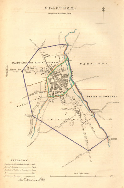 Associate Product GRANTHAM borough/town plan. BOUNDARY COMMISSION. Lincolnshire. DAWSON 1837 map