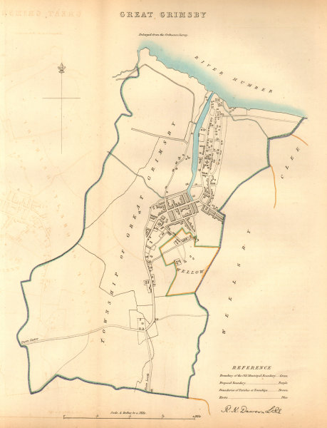 Associate Product GREAT GRIMSBY borough/town/city plan. BOUNDARY COMMISSION Lincs. DAWSON 1837 map