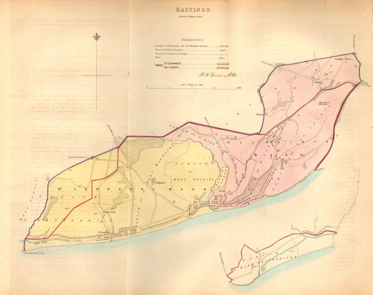 Associate Product HASTINGS borough/town plan. BOUNDARY COMMISSION. Sussex. DAWSON 1837 old map