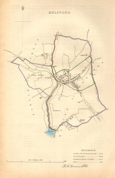 Associate Product HELSTON borough/town plan. BOUNDARY COMMISSION Helstone Cornwall DAWSON 1837 map