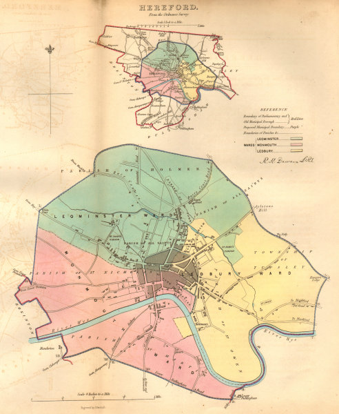 Associate Product HEREFORD borough/town/city plan. BOUNDARY COMMISSION. DAWSON 1837 old map