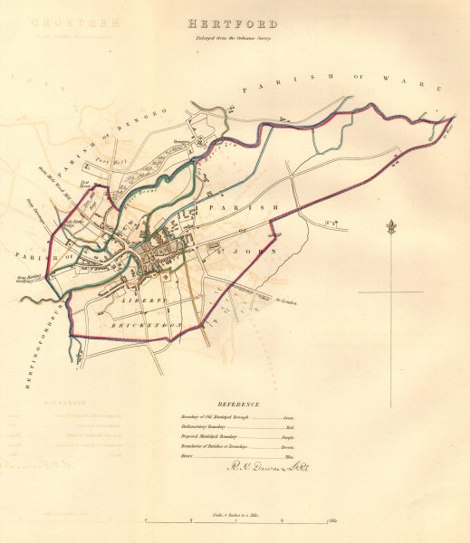 Associate Product HERTFORD borough/town/city plan. BOUNDARY COMMISSION. DAWSON 1837 old map
