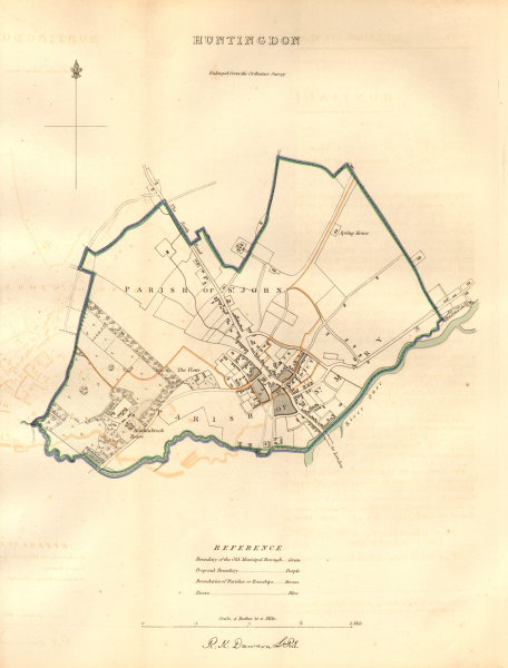 Associate Product HUNTINGDON borough/town plan. BOUNDARY COMMISSION. DAWSON 1837 old antique map