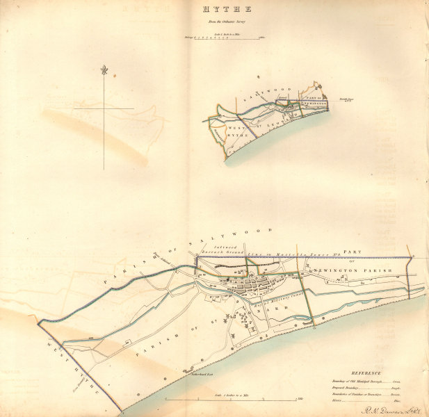 Associate Product HYTHE borough/town plan. BOUNDARY COMMISSION. Kent. DAWSON 1837 old map