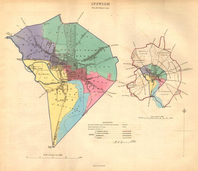 Associate Product IPSWICH borough/town/city plan. BOUNDARY COMMISSION. Suffolk. DAWSON 1837 map