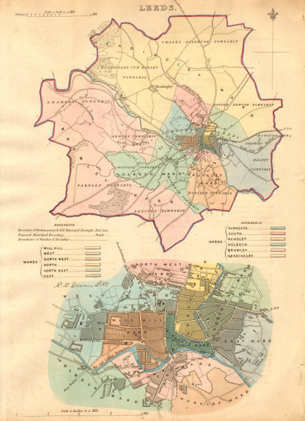 Associate Product LEEDS borough/town/city plan. BOUNDARY COMMISSION. Yorkshire. DAWSON 1837 map