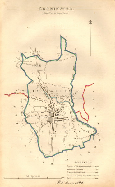 LEOMINSTER borough/town plan. BOUNDARY COMMISSION Herefordshire. DAWSON 1837 map