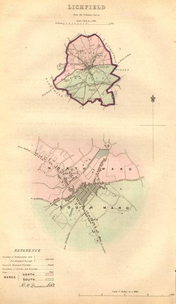 LICHFIELD borough/town plan. BOUNDARY COMMISSION. Staffordshire. DAWSON 1837 map