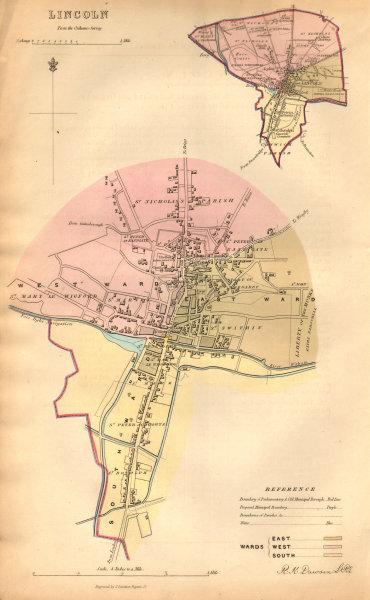 LINCOLN borough/town/city plan. BOUNDARY COMMISSION Lincolnshire DAWSON 1837 map
