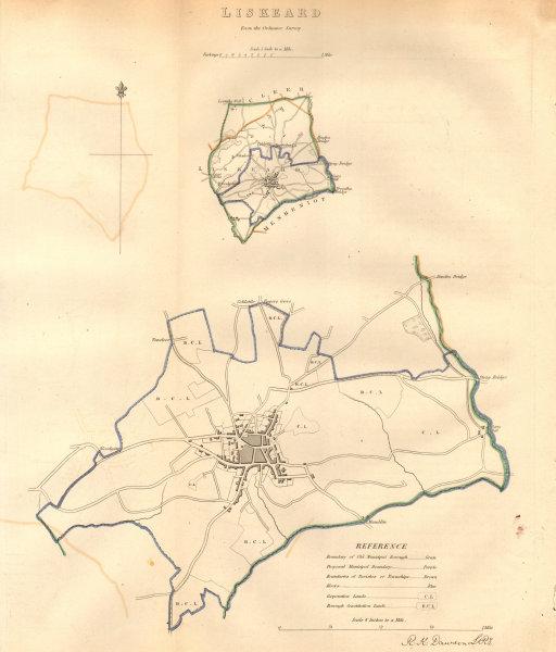 Associate Product LISKEARD borough/town plan. BOUNDARY COMMISSION. Cornwall. DAWSON 1837 old map