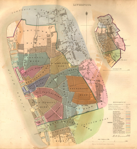 Associate Product LIVERPOOL  borough/town/city plan. BOUNDARY COMMISSION Liverpool DAWSON 1837 map