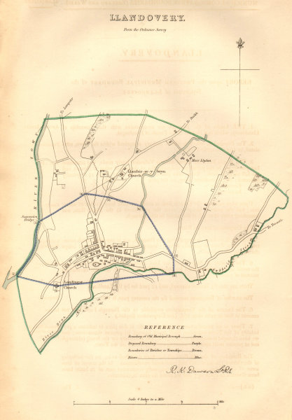 Associate Product LLANDOVERY borough/town plan. BOUNDARY COMMISSION. Wales. DAWSON 1837 old map