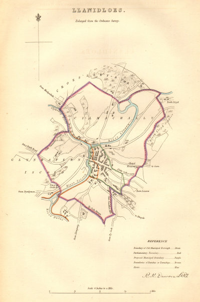 LLANIDLOES borough/town plan. BOUNDARY COMMISSION. Wales. DAWSON 1837 old map