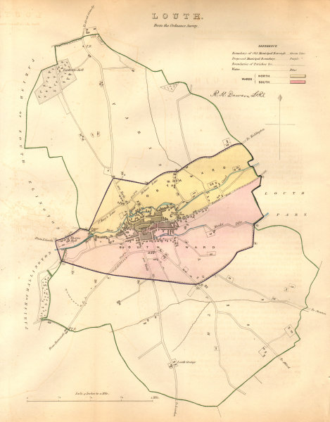 Associate Product LOUTH borough/town plan. BOUNDARY COMMISSION. Lincolnshire. DAWSON 1837 map