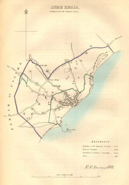 LYME REGIS borough/town plan. BOUNDARY COMMISSION. Dorset. DAWSON 1837 old map