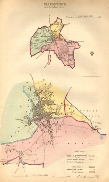MAIDSTONE borough/town plan. BOUNDARY COMMISSION. Kent. DAWSON 1837 old map