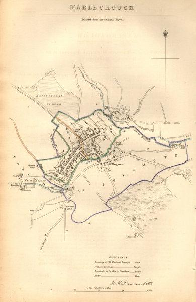 Associate Product MARLBOROUGH borough/town plan. BOUNDARY COMMISSION. Wiltshire. DAWSON 1837 map