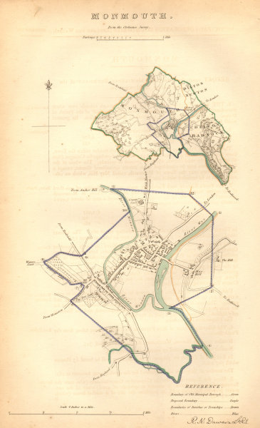 Associate Product MONMOUTH borough/town plan. BOUNDARY COMMISSION. Monmouthshire. DAWSON 1837 map