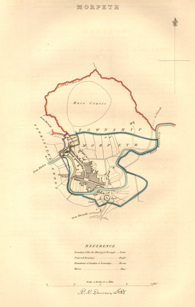 Associate Product MORPETH borough/town plan. BOUNDARY COMMISSION. Northumberland. DAWSON 1837 map