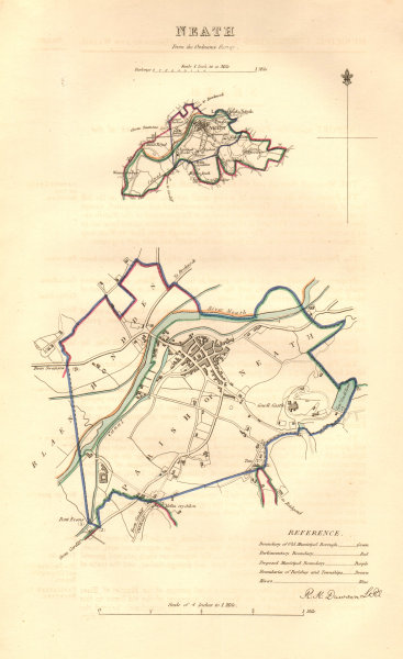 NEATH borough/town plan. BOUNDARY COMMISSION. Wales. DAWSON 1837 old map