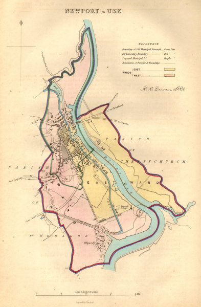 Associate Product NEWPORT-ON-USK borough/town/city plan. BOUNDARY COMMISSION. DAWSON 1837 map