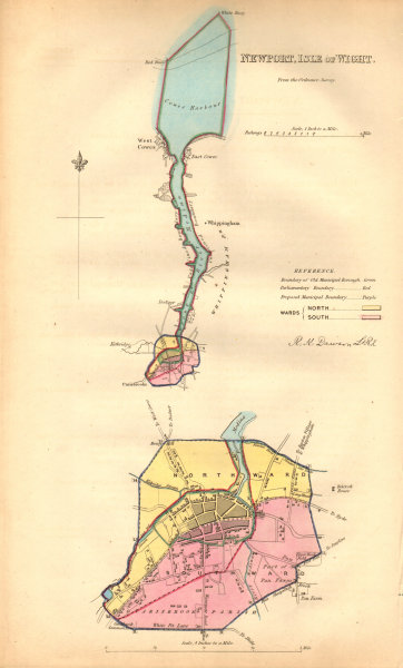 NEWPORT, ISLE OF WIGHT borough/town plan. BOUNDARY COMMISSION. DAWSON 1837 map