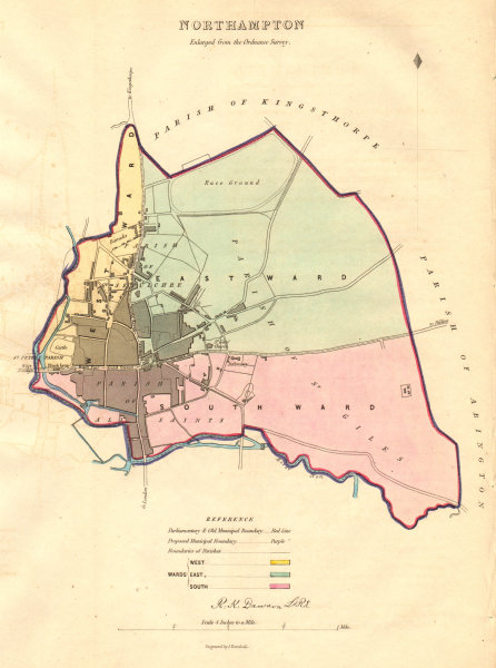 Associate Product NORTHAMPTON borough/town/city plan & Wards. BOUNDARY COMMISSION. DAWSON 1837 map