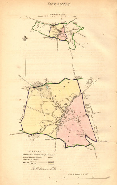 Associate Product OSWESTRY borough/town plan. BOUNDARY COMMISSION. Shropshire. DAWSON 1837 map